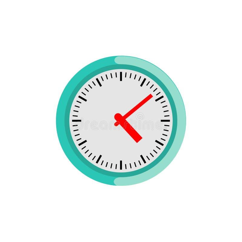 De klok van de cirkelmuur op witte achtergrond wordt geïsoleerd die Klassieke ronde analoge wijzerplaat royalty-vrije illustratie