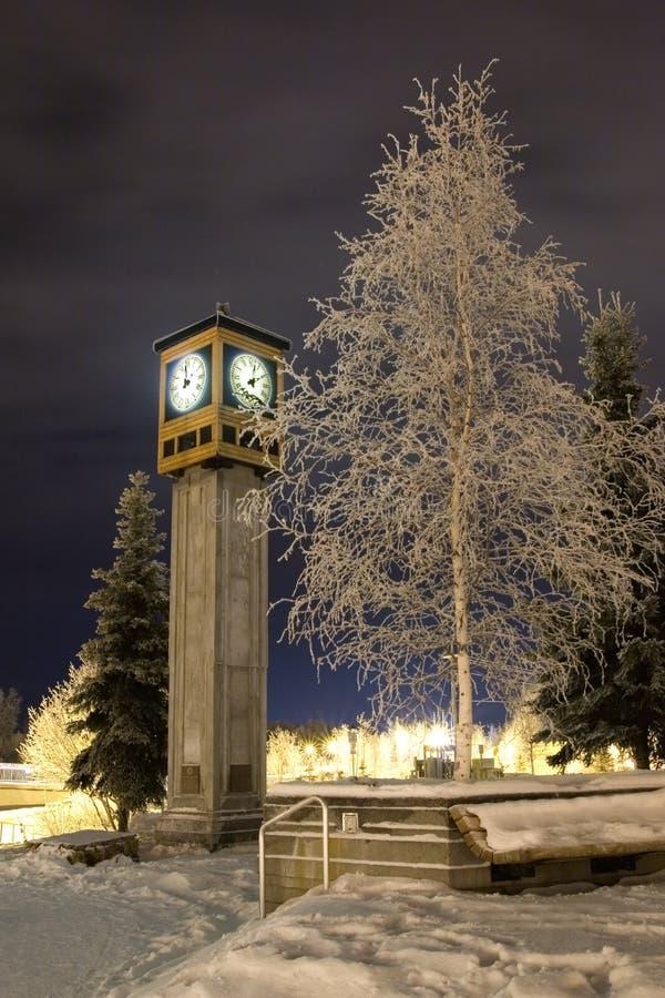 De klok van de winter stock afbeeldingen