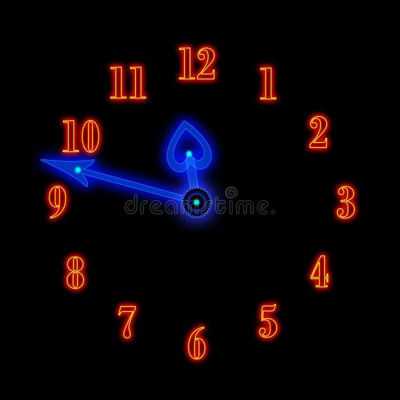 De klok van het neon stock illustratie