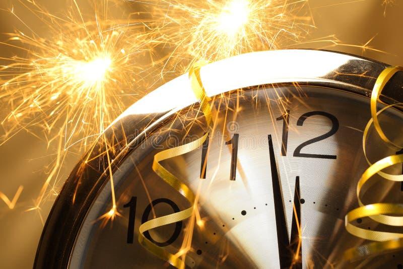 De Klok van het nieuwjaar stock afbeeldingen