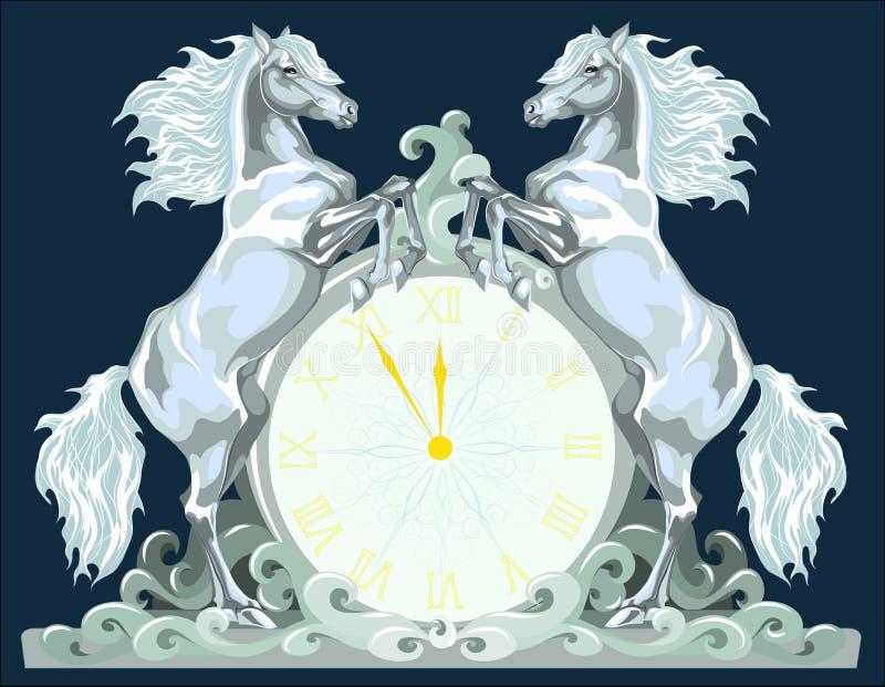 De klok van het nieuwjaar met twee paarden, 5 minuten aan 12. royalty-vrije stock afbeeldingen