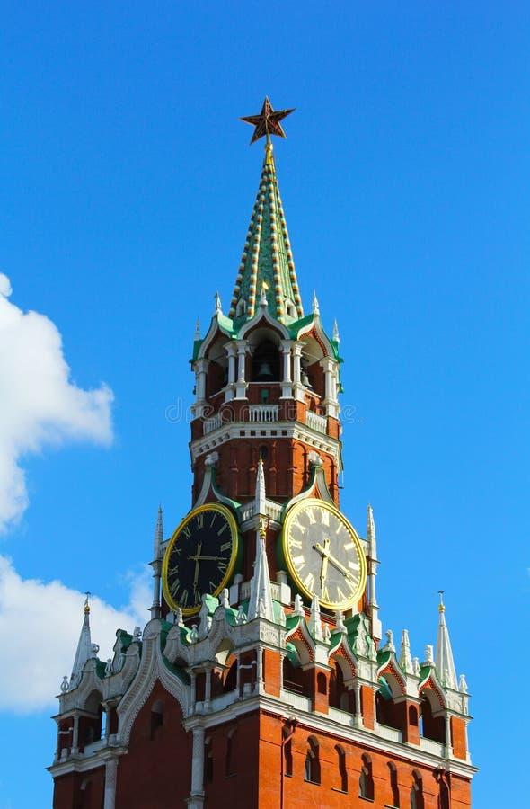 De klok van Moskou het Kremlin van de Spasskaya-Toren stock fotografie