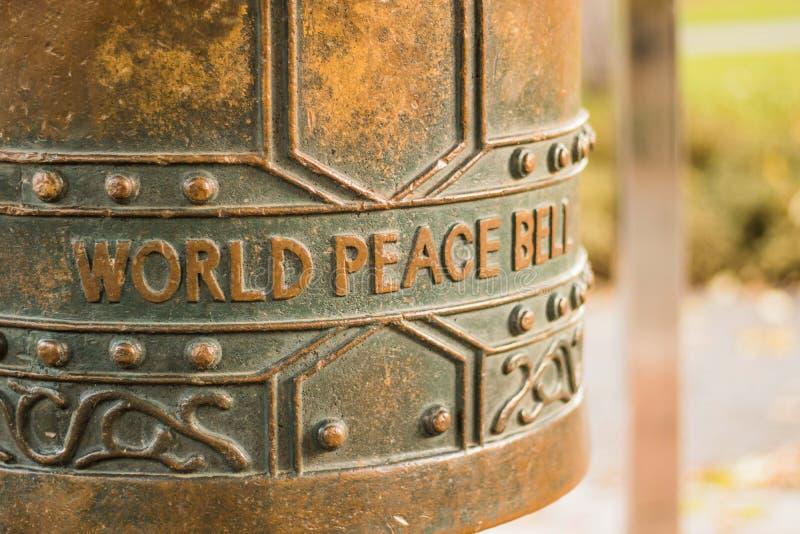 De klok van de wereldvrede, botanische tuin, Christchurch royalty-vrije stock foto