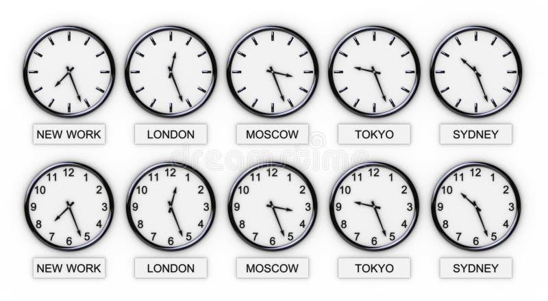 De Klokken van de wereld (Tijd) stock illustratie