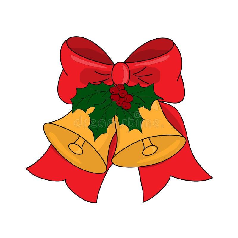De klokken van het Kerstmiskenwijsje met rode boog, hulstbladeren en bes, vectorillustratie vector illustratie