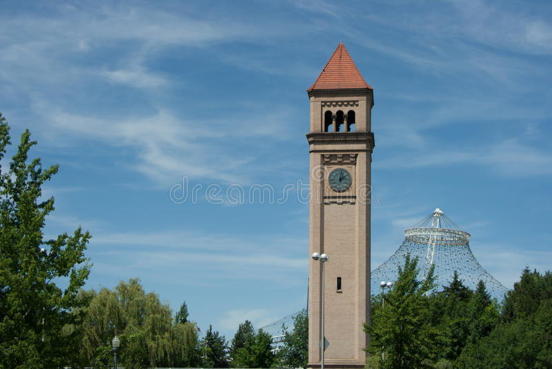 De Klokketoren en het Paviljoen van Spokane royalty-vrije stock foto