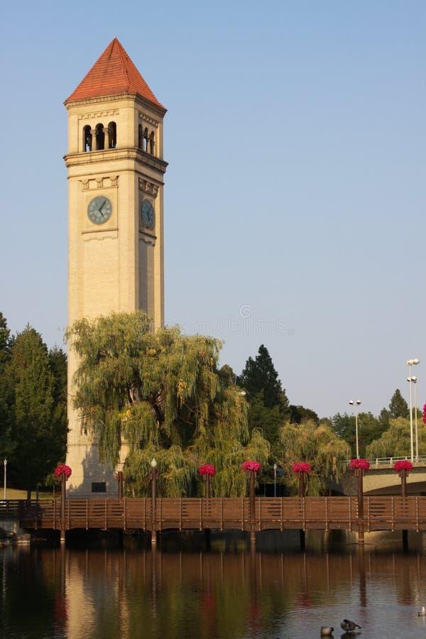 De Klokketoren in Spokane, Wa stock afbeeldingen