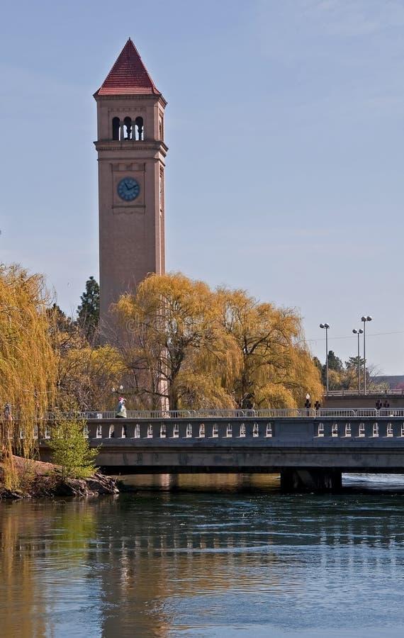 De Klokketoren Spokane, WA van de stad stock fotografie