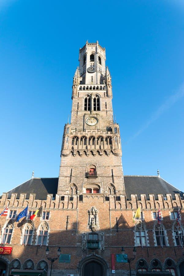 De klokketoren van Brugge, of Belfort, is een middeleeuwse klokketoren in Brugge stock foto