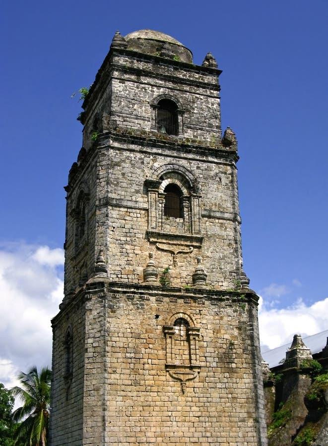 De klokketoren van de Kerk van Paoay stock foto