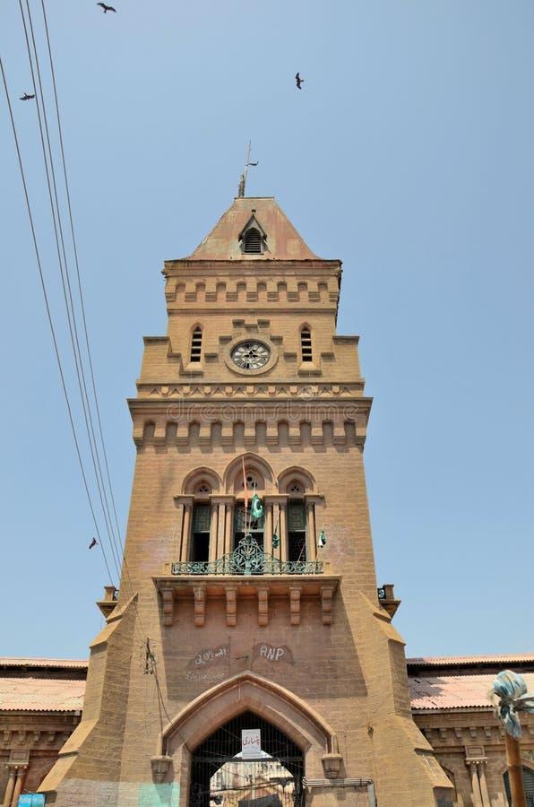 De klokketoren van de keizerinmarkt in Saddar Pakistan Van karachi stock foto