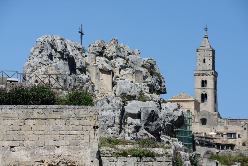 De klokketoren van Santa Maria de Idris en van de Kathedraal royalty-vrije stock foto