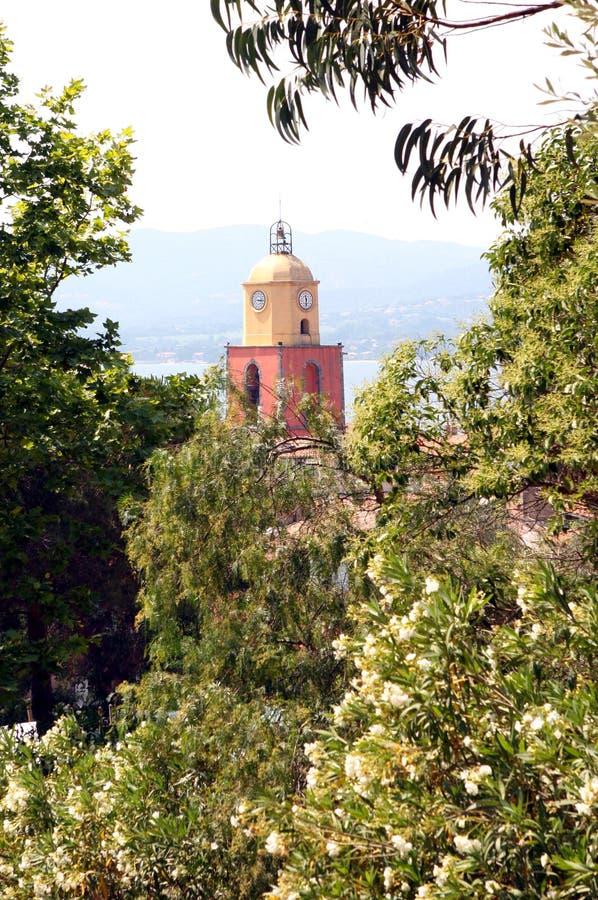 De Klokketorenkerk Frankrijk van Saint Tropez Provencal stock afbeelding