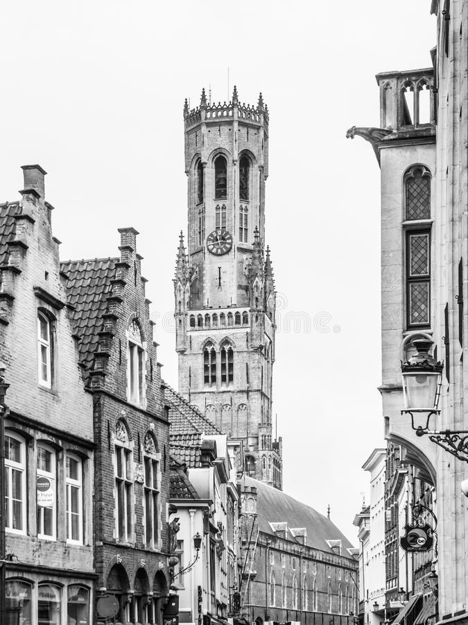 De Klokketorentoren, aka Belfort, van Brugge, middeleeuwse klokketoren in het historische centrum van Brugge, België De mening va royalty-vrije stock foto