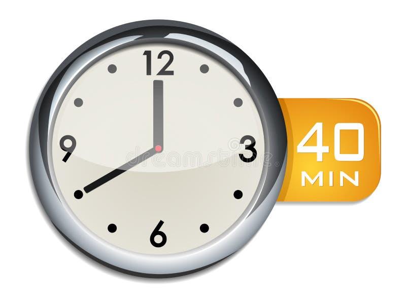 De kloktijdopnemer van de bureaumuur 40 minuten royalty-vrije illustratie