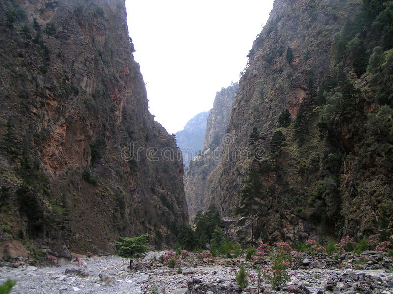 De Kloof Kreta van Samaria stock fotografie