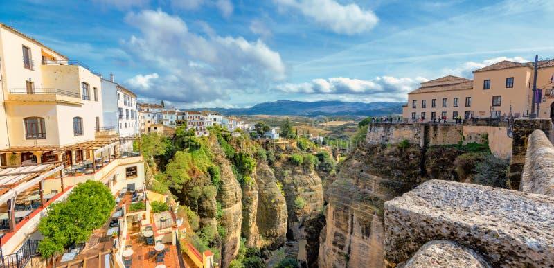 De Kloof van Taag Ronda, Andalusia, Spanje royalty-vrije stock afbeelding