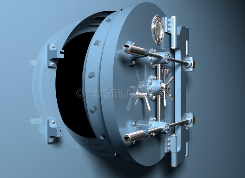 De Kluis van de bank met ronde deur vector illustratie