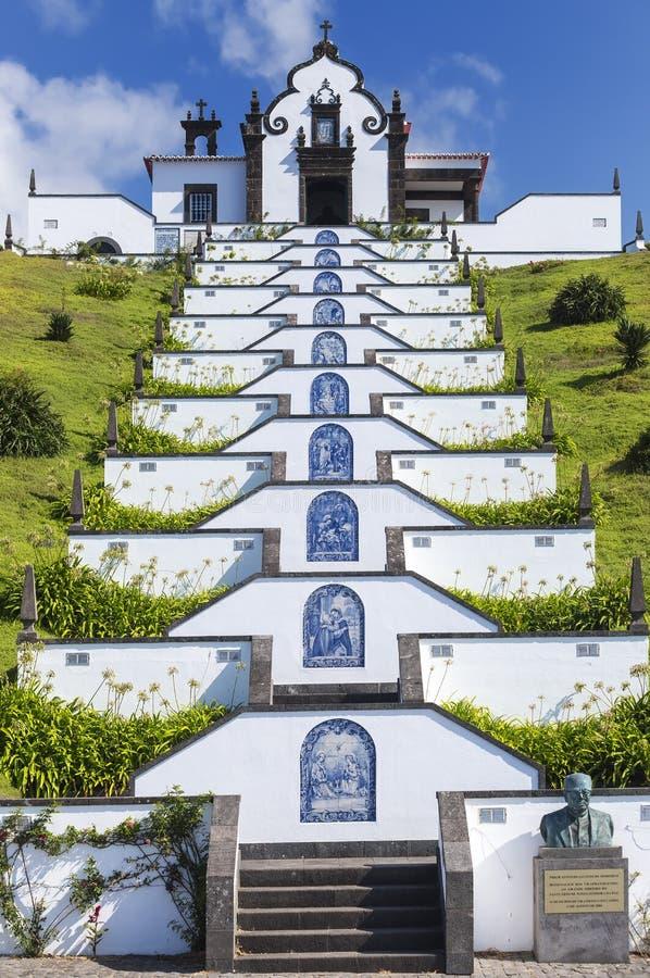 De kluis van Onze Dame van Vrede, een tempel bouwde 1764, op de bovenkant van een verhoging in, schraper vertegenwoordigen via Fr stock foto's