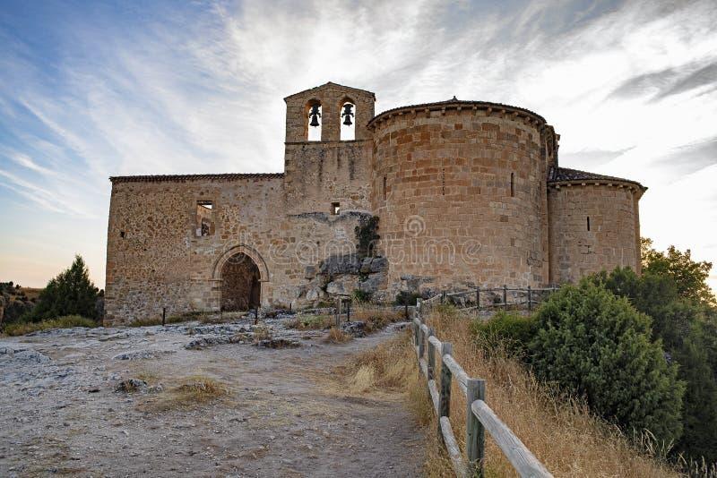 De Kluis van San Frutos bij zonsopgang, Duraton-kloven, Sepulveda, Segovia stock afbeeldingen