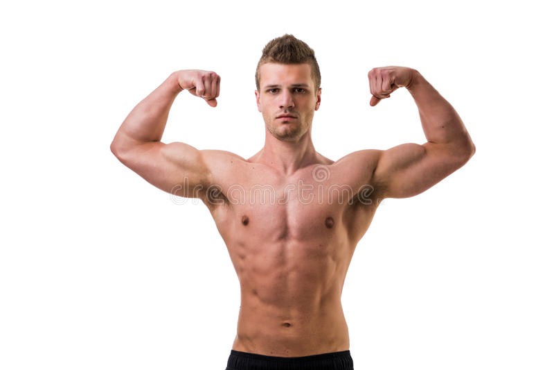 De knappe bodybuilder die klassieke bicepsen doen stelt royalty-vrije stock foto's