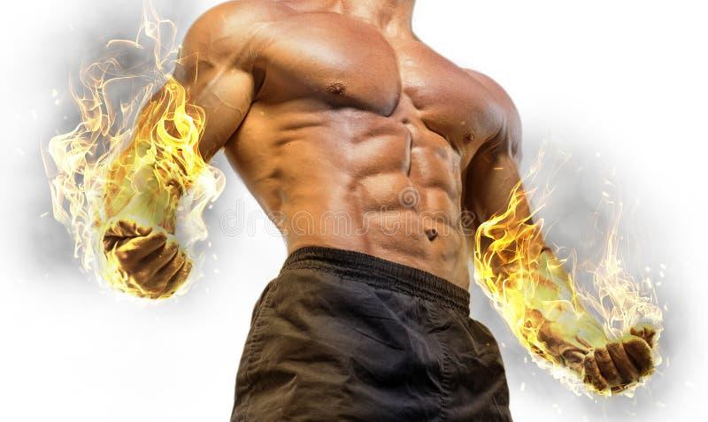 De knappe bodybuilder van de machts atletische mens stock fotografie