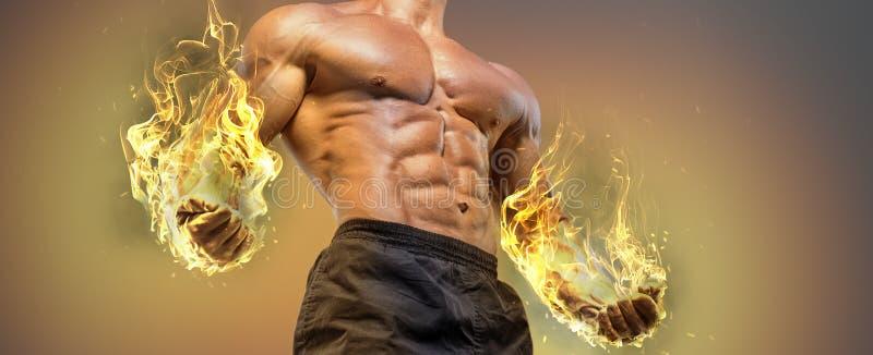 De knappe bodybuilder van de machts atletische mens royalty-vrije stock fotografie