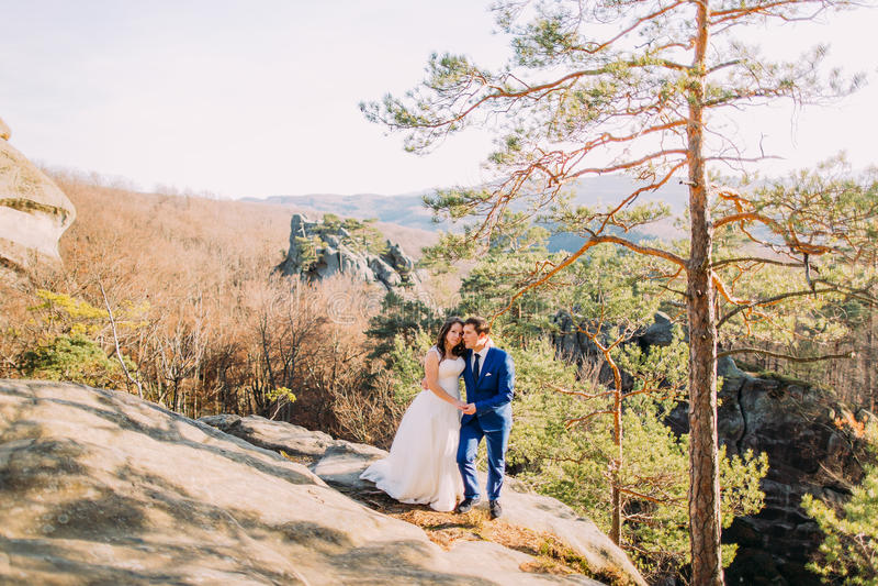 De knappe bruidegom houdt zacht zijn elegante nieuwe vrouw zich bevindt op rotshelling stock afbeeldingen