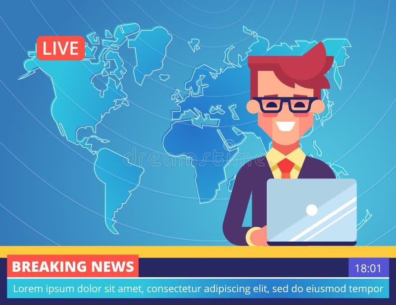 De knappe jonge TV-nieuwslezermens die brekend nieuws melden die in een studio met wereld zitten brengt op achtergrond in kaart V vector illustratie