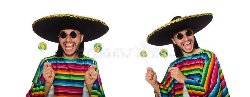 De knappe man in levendige die ponchoholding lollypop op wit wordt geïsoleerd royalty-vrije stock afbeeldingen
