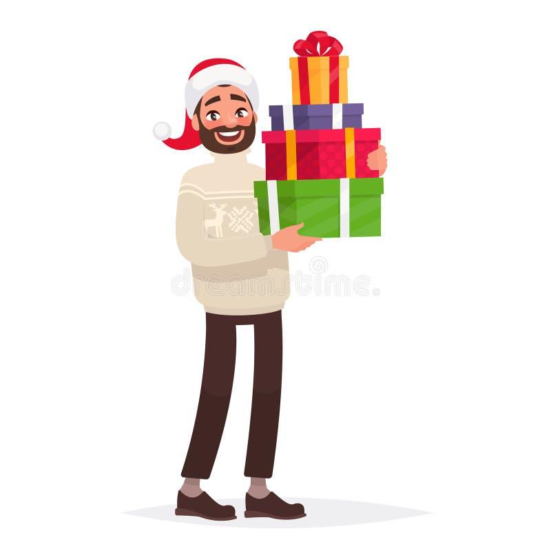De knappe mens gekleed in een sweater en een Kerstmishoed houdt voorstelt Nieuwe jaar` s verkoop royalty-vrije illustratie