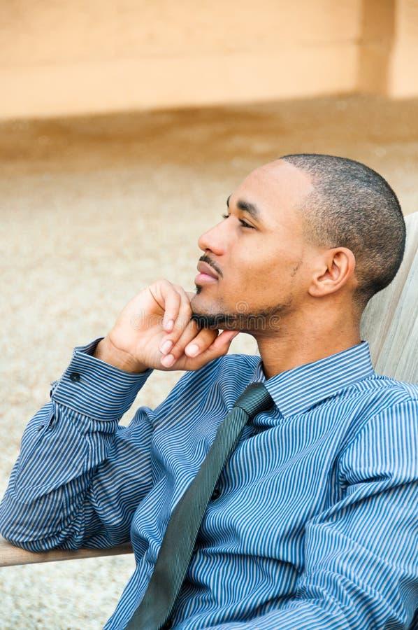 De Knappe Zwarte Amerikaanse Mens van het profiel royalty-vrije stock foto's