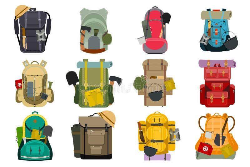 De knapzak van de de reistoerist van de rugzakrugzak de openlucht van de de bagagebagage van de wandelingsreiziger backpacker vec vector illustratie