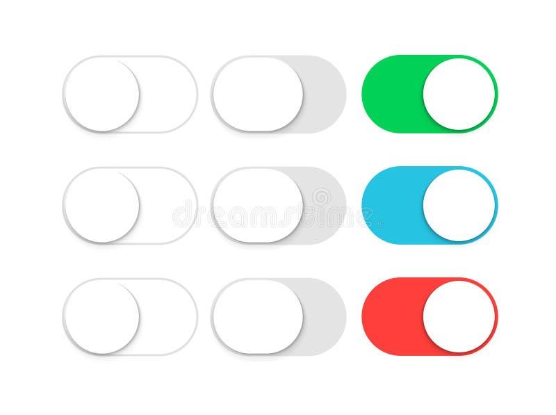 De knevelschuif van de knoopschakelaar ui Glijd weg of zet app mobiele interface aan Website licht grafisch element stock illustratie