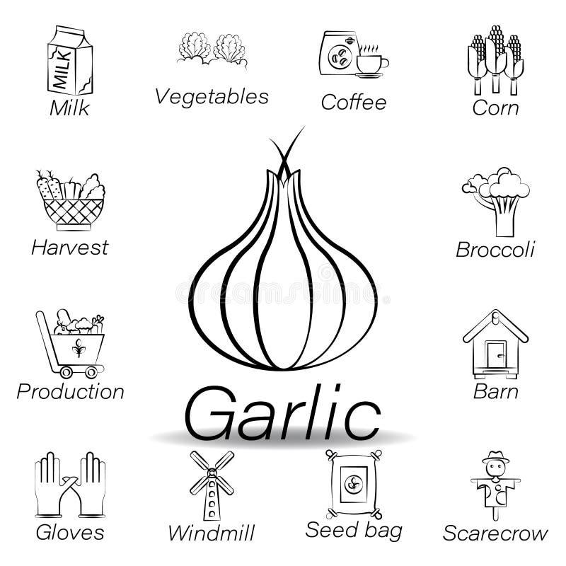 De knoflookhand trekt pictogram Element van de landbouw van illustratiepictogrammen De tekens en de symbolen kunnen voor Web, emb royalty-vrije illustratie