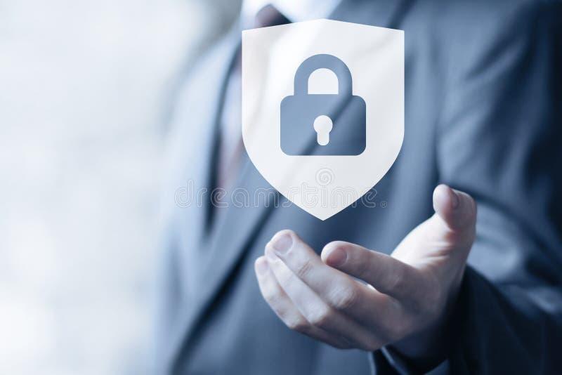 De knoop gesloten zaken van het het viruspictogram van de schildveiligheid online royalty-vrije stock foto's