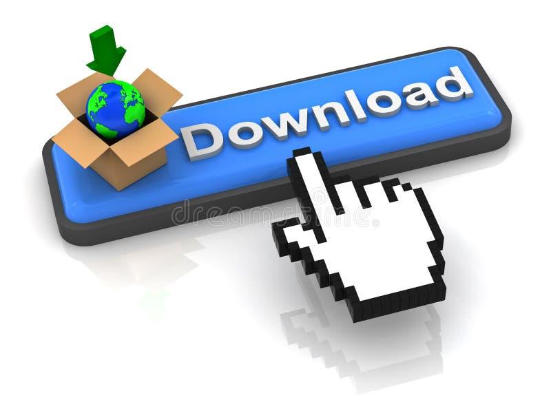 De knoop van de download met aardebol in bruine doos vector illustratie
