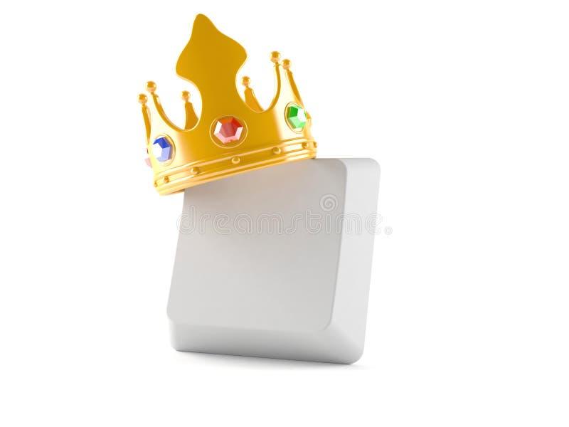 De knoop van het computertoetsenbord met gouden kroon stock illustratie