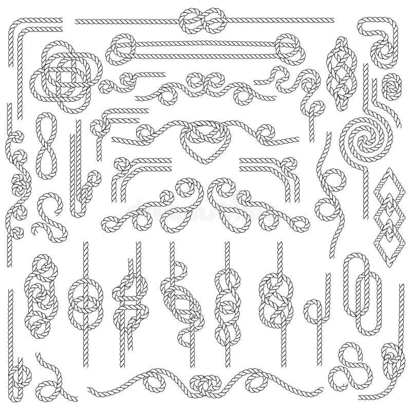 De knoop van de kabel Marien touwwerk met zeevaartknopen De elementen van de marinedecoratie royalty-vrije illustratie