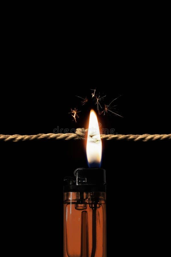 De knoop van touw verbranden stock afbeeldingen