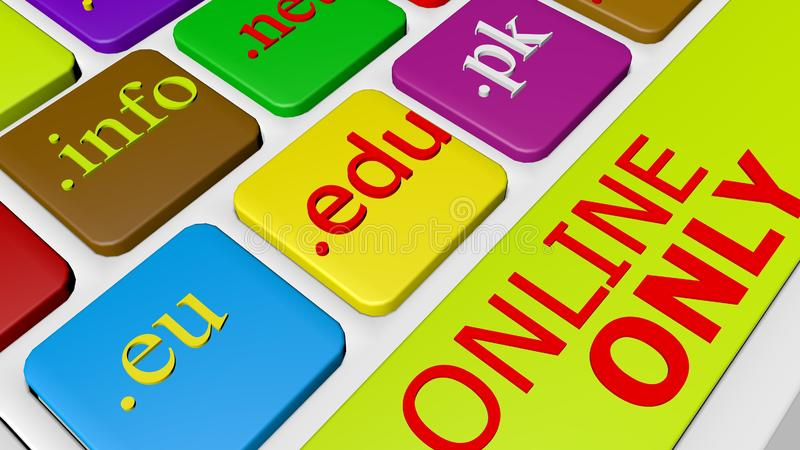 De knoopsleutel van het computertoetsenbord met kleurrijke website en Internetdomeinnamen stock illustratie