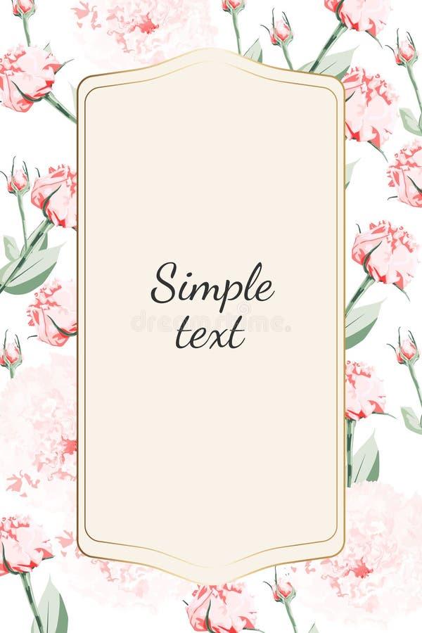 De knop van de rozenpioen, kan als groetkaart, uitnodigingskaart voor huwelijk, verjaardag en andere vakantie en de zomerachtergr stock illustratie