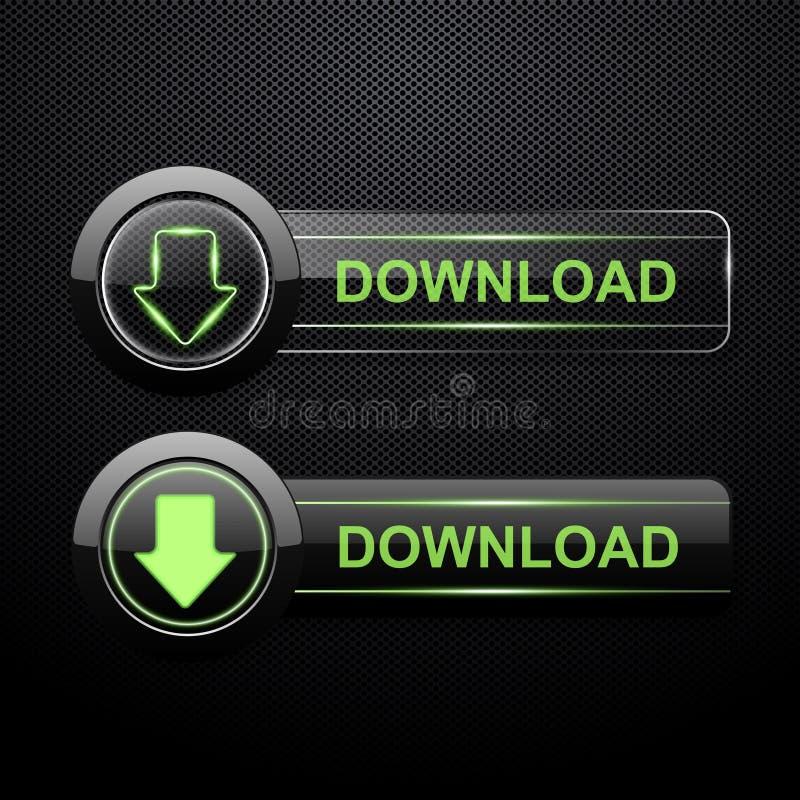 De knopen van de download op zwarte achtergrond royalty-vrije illustratie