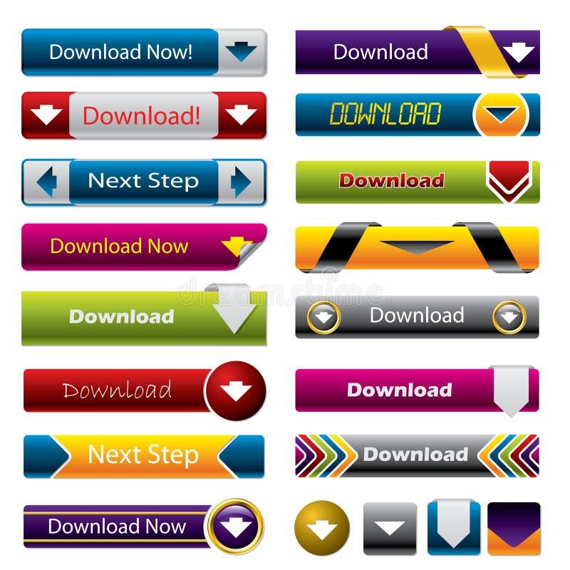 De knopen van de download voor het Web vector illustratie