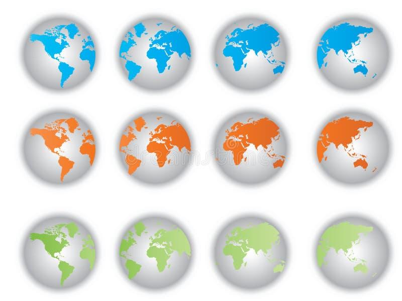 De knopen van de Kaart van de wereld vector illustratie