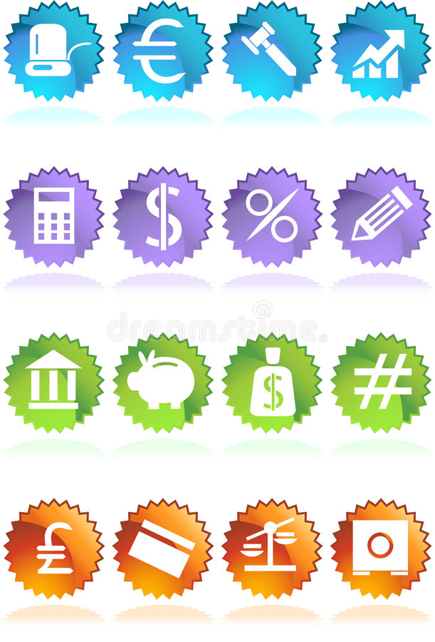 De Knopen van de Sticker van het bankwezen - Kleur 4 royalty-vrije illustratie