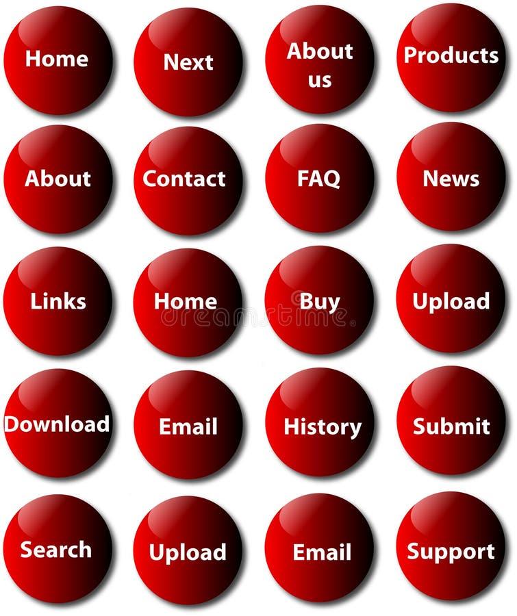 De knopen van de website stock illustratie