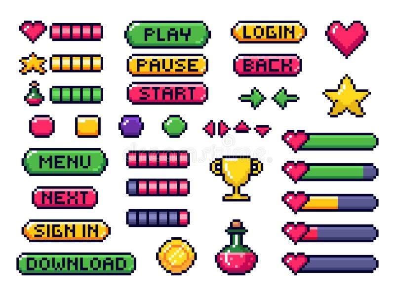 De knopen van het pixelspel Spelen UI, de pijlen van het gokkencontrolemechanisme en de vectorreeks met 8 bits van de pixelknoop vector illustratie