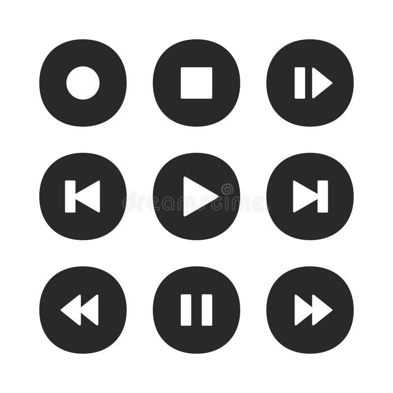 De Knopen van de muziekspeler Het geplaatst spelpictogram, verslag van de eindepauze en de volgende vectorpictogrammen van de lie stock illustratie