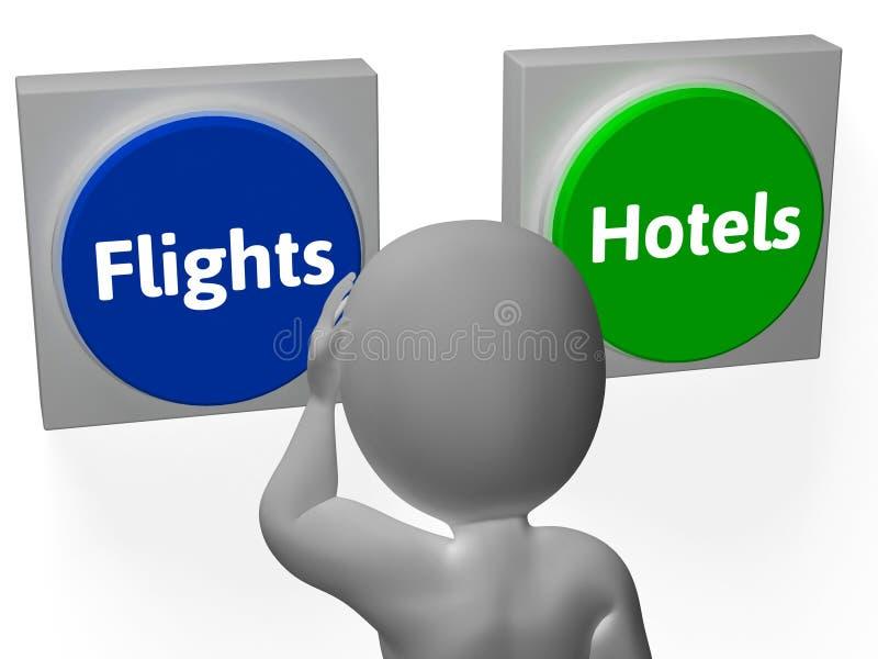 De Knopen van vluchtenhotels tonen Hotel of Vlucht stock illustratie